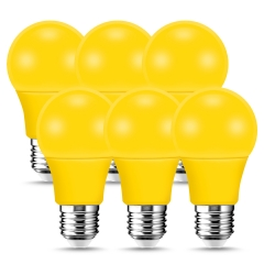 LOHAS Yellow LED Light Bulbs, A19, 60W Equivalent, 9W, Colored Light Bulbs for Party Holiday Events Decoration, 6 Pack