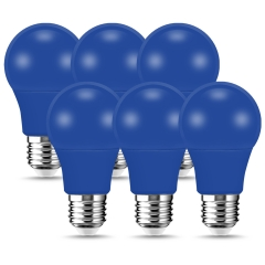 LOHAS A19 Blue LED Light Bulb, 60W Equivalent (9W), E26 Medium Base, for Porch, Home Lighting, Party Decoration, Pack of 6