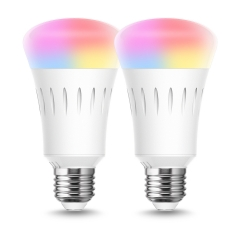 Smart LED Light Bulb 9W 60W Equivalent, Daylight Warm White 2700-6000K, E26 Base No Hub Required, RGB Color Changing Dimmable, 2 Pack