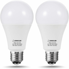 LOHAS 3-Way A21 LED Light Bulb 50/100/150W Equivalent, 5000K Daylight, Dimmable Frosted Light Bulbs with E26 Base for Floor Lamp, 2 Pack