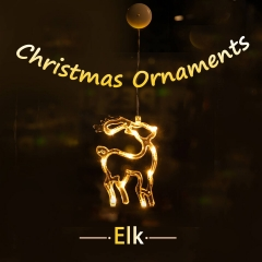 LOHAS LED Christmas Pendant Lights, Elk And Bell Shape, Battery Powered, Decorative Hanging Pendant Lights for Christmas Tree, Party, Wedding, Warm Wh