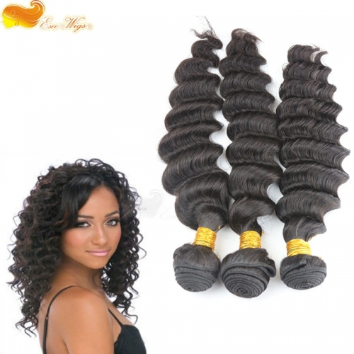 3pcs Deep Wave Unprocessed brazilian Virgin Hair Extensions Bundles Human Hair Weft