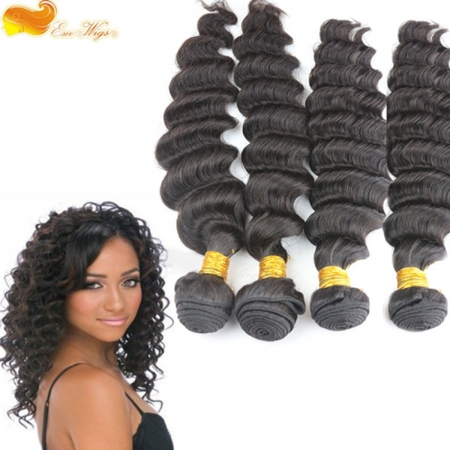 4pcs lot 100g Unprocessed 7A Grade brazilian Virgin Hair Extensions 4 Bundles Deep Wave Human Hair Weft