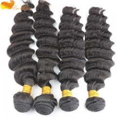 4pcs lot 100g Unprocessed 7A Grade brazilian Virgin Hair Extensions 4 Bundles Deep Wave Human Hair Weft Free Shipping