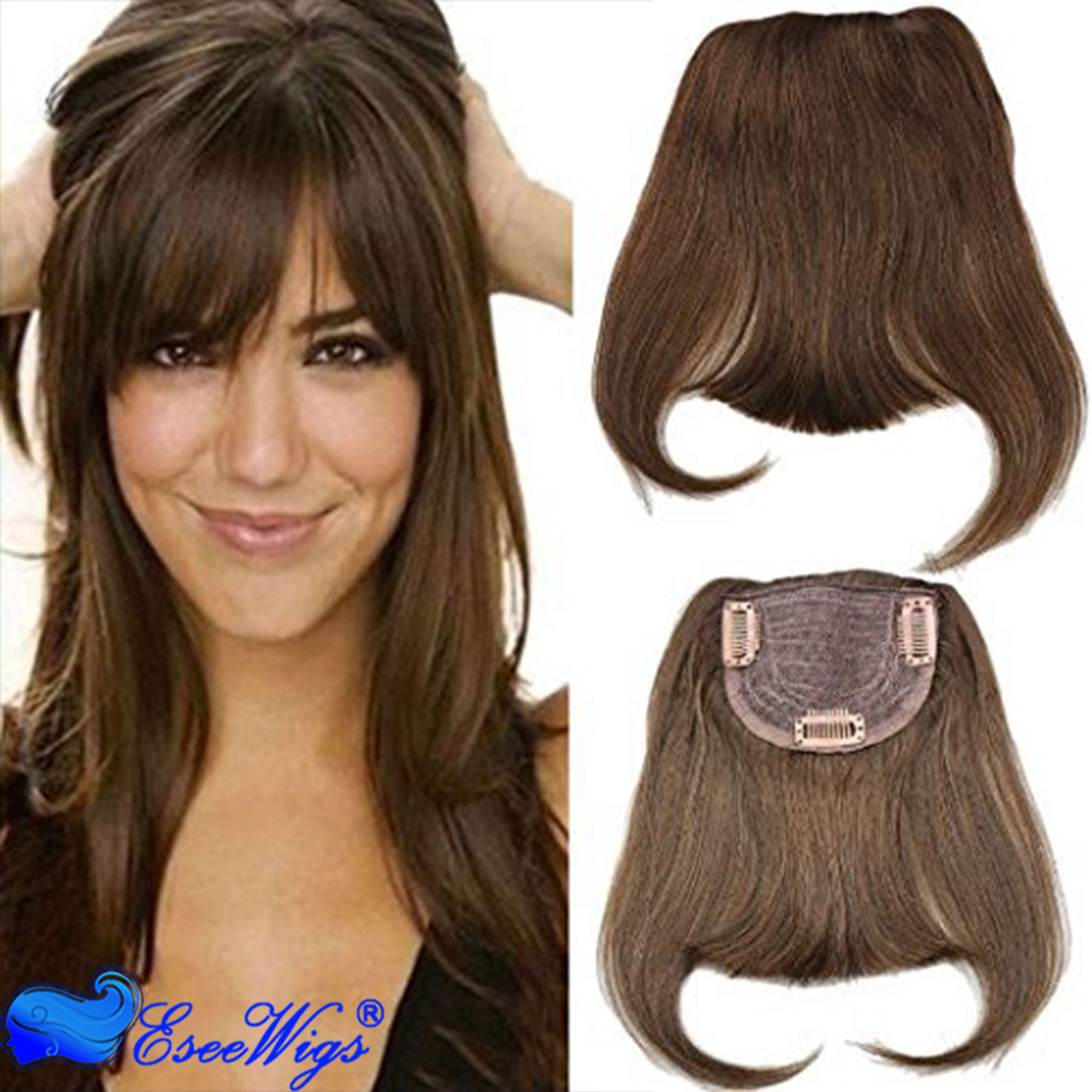 30 Color Brazilian Human Hair Clip In Hair Bang Full Fringe Short