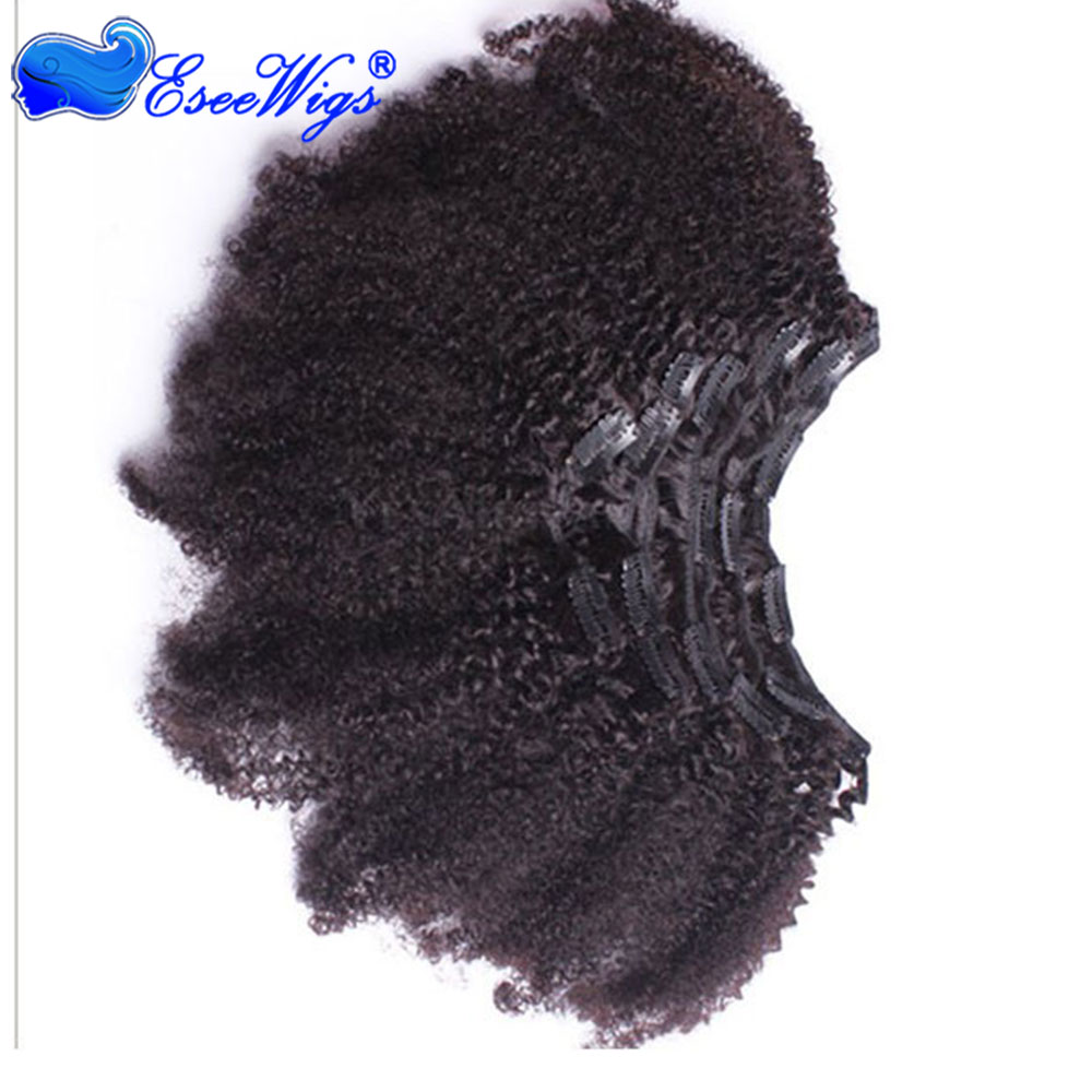 Afro Kinky Curly Clip In Human Hair Extensions Mongolian Virgin Hair