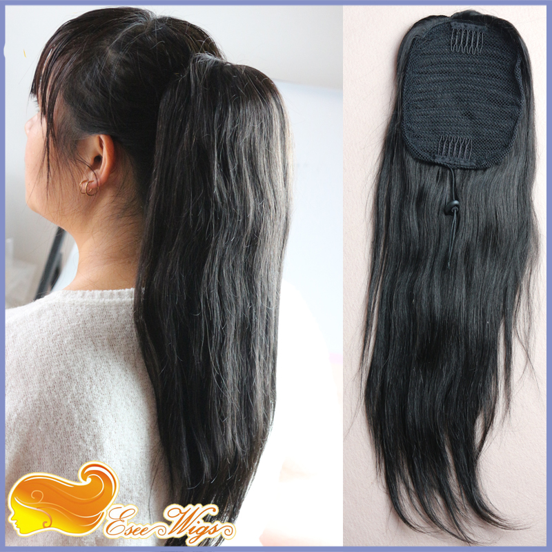 Straight Ponytail Hair Extension With Combs 7a Brazilian