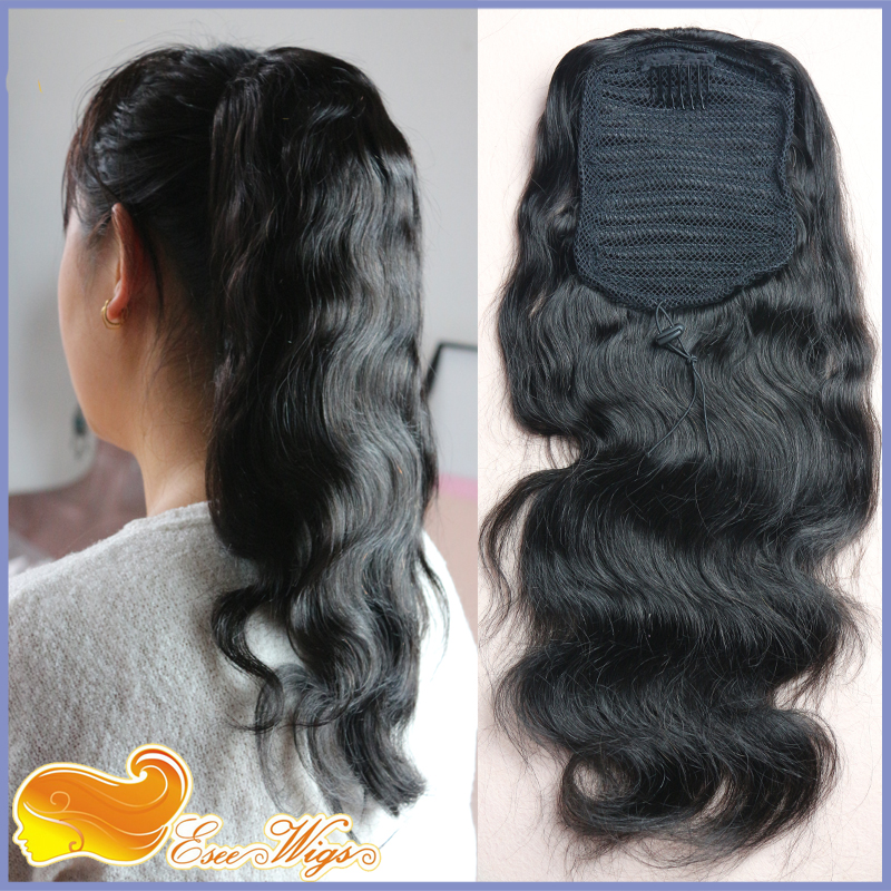 Brazilian Body Wave Ponytail Wrap Hair Extension Clip In Ponytail