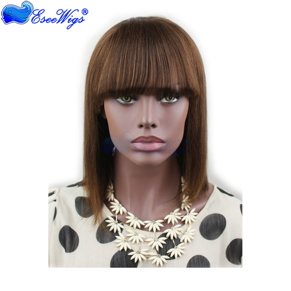 True Glory Hair Short Bob Straight Wig With Bangs 4 Brown Colored