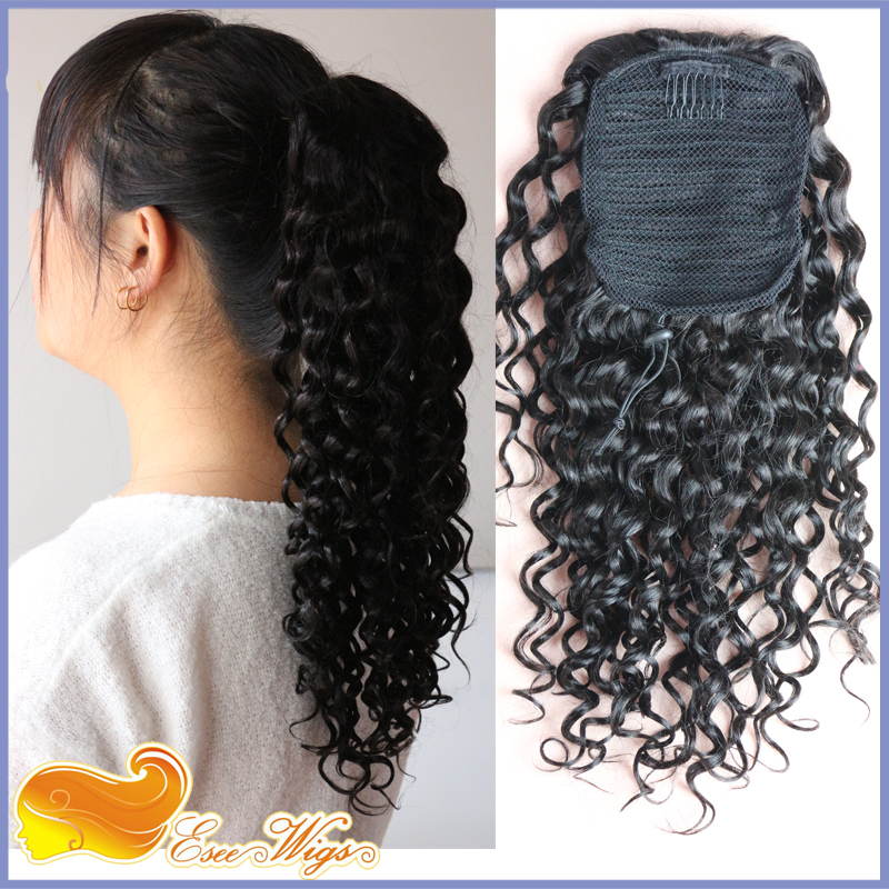 Curly Clip In Ponytail Hairpiece Hair Extension Brazilian Virgin