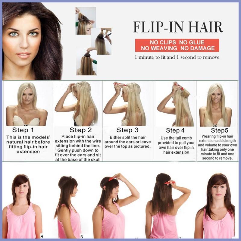 Top Grade Flip In Hair Extension Brazilian Virgin Hair 100gpc