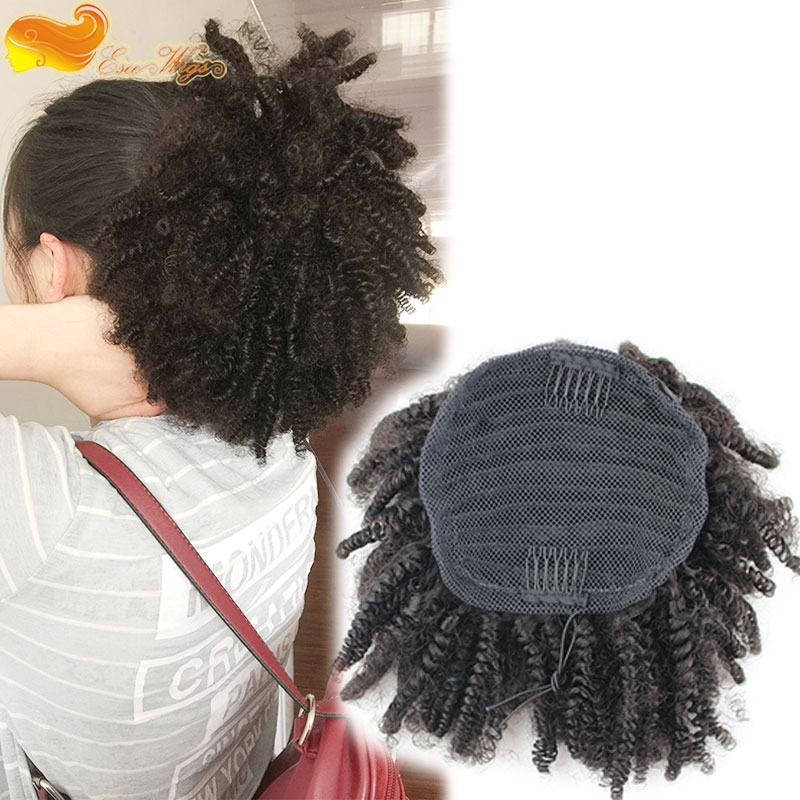 Afro Kinky Curly Ponytail Hair Extension With Combs Eseewigs