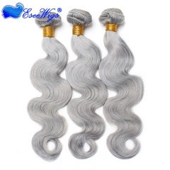 Color Platinum Grey Body Wave Brazilian Remy Hair Weaves 3pcs Buddles