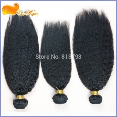 Brazilian Remy Hair Italian Yaki Human Hair Weaves 3 Bundles Natural Color