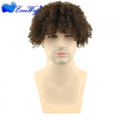 David Luiz Afro Kinky Curly Short Wig 100% Brazilian Remy Human Hair 130% Density Short Wig for Toupee Hairpiece Men (Brown)