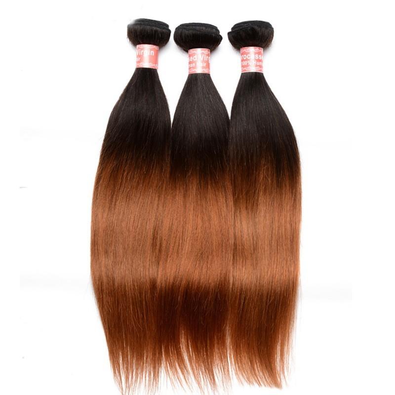 Silk Straight 1b30 Ombre Color Brazilian Virgin Human Hair Weave 4