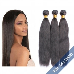 Brazilian Remy Human Hair Natural Color Yaki Straight Hair Weave 3 Bundles