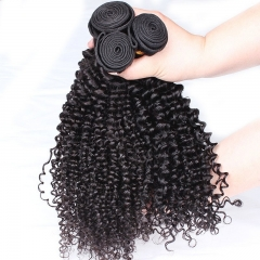 Natural Color Kinky Curly Hair Weaves Brazilian Remy Human Hair Weaves 3 Bundles