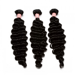 Natural Color Deep Wave Brazilian Remy Human Hair Weave 3pcs Bundles