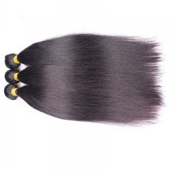 Natural Color Silk Straight Brazilian Remy Human Hair Extensions Weave 3 Bundles