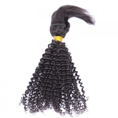 Kinky Curly Braid In Bundles Human Hair Natural Color Hair Weaves 3 Pieces
