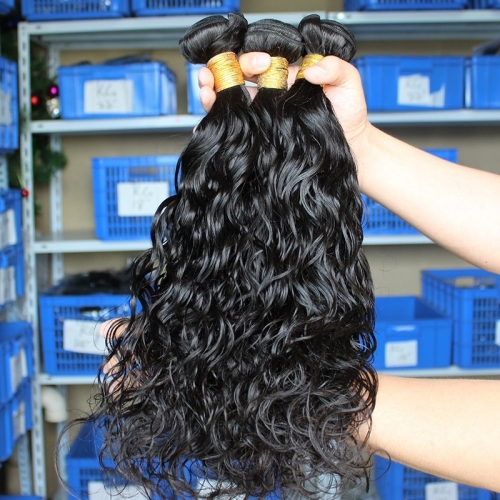 Water Wet Wave Hair Weave 3 Bundles Natural Color Malaysian Remy Human Hair