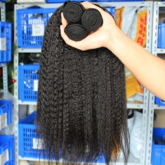 Natural Color Kinky Straight Malaysian Remy Hair Weaves 3pcs Bundles