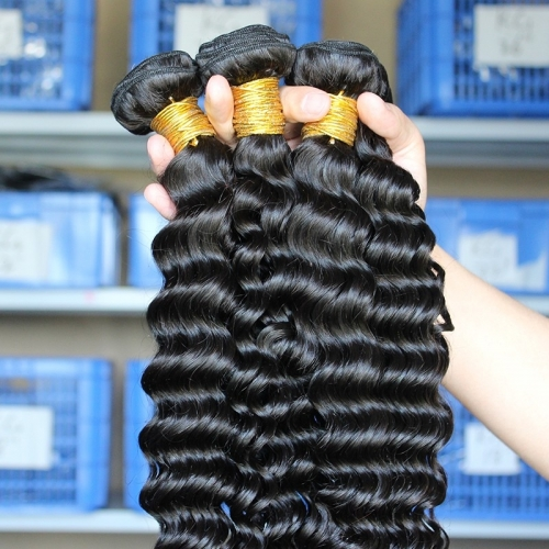 Natural Color Peruvian Remy Human Hair Deep Wave Hair Weave 3 Bundles