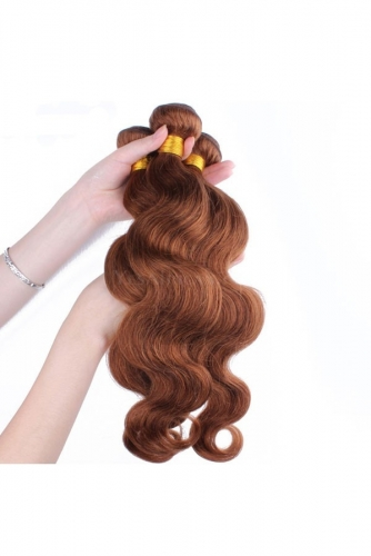 Color #30 Medium Brown Body Wave Peruvian Remy Hair Weaves 3pcs Buddles