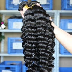 Natural Color Deep Wave Unprocessed Malaysian Remy Human Hair Weave 3 Bundles