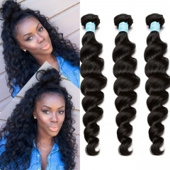 Loose Wave Brazilian Virgin Hair 3 Pcs Brazilian Hair Weave Bundles 8A Hair Products Curly Human Hair Extensions