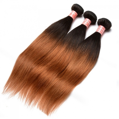 Silk Straight 1B/30 Ombre Color Brazilian Virgin Human Hair Weave 4 Bundles