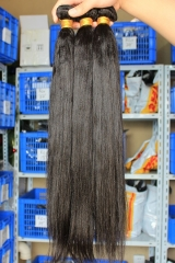 Natural Color Peruvian Virgin Human Hair Weave Yaki Straight 4pcs Bundles