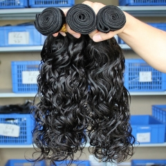 Malaysian Virgin Human Hair Extensions Weave Water Wave 4 Bundles Natural Color