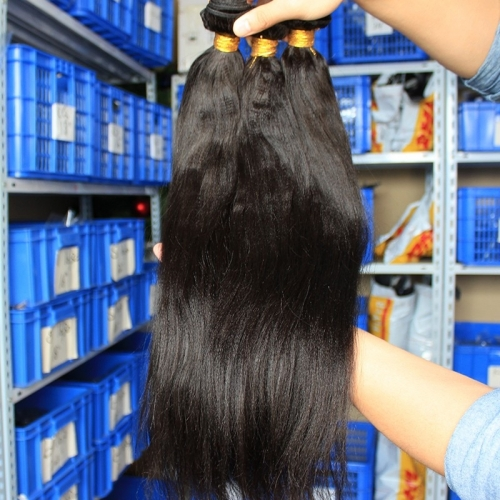 Indian Remy Human Hair Extension Weaves Yaki Straigt 4 Bundles Natural Color