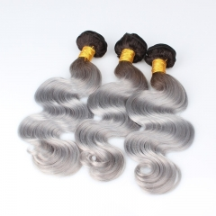 Color 1B/Grey Body Wave Brazilian Virgin Hair Weaves 3pcs Buddles