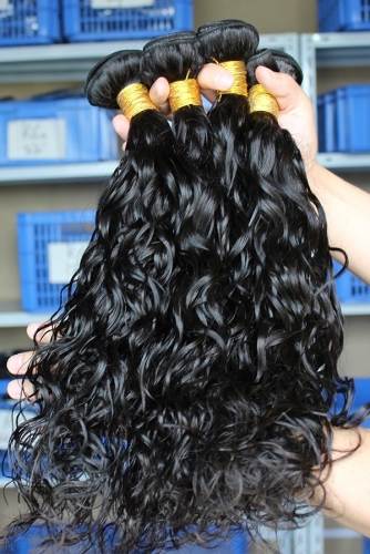 Indian Virgin Human Hair Extensions Water Wave Hair 4 Bundles Natural Color