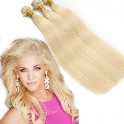 Blonde 613 Silky Straight Hair Weave Unprocessed Brazilian Virgin Remy Human Hair Extension Top Grade 7A 3 Bundles 300g Mixed Length