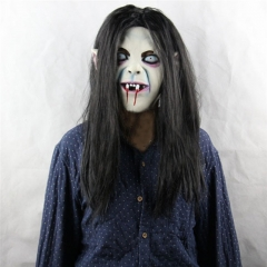 Creepy Scary Toothy Zombie with Hair Halloween Cosplay Mask