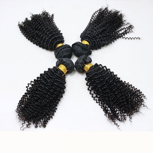 Kinky Curly Indian Remy extension de cheveux humains 4 Bundles couleur naturelle