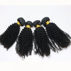 Kinky Curly Indian Remy Human Hair Extension 4 Bundles Natural Color