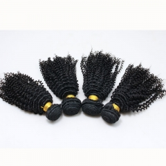 Natural Color Kinky Curly Peruvian Virgin Human Hair Weave 4pcs Bundles
