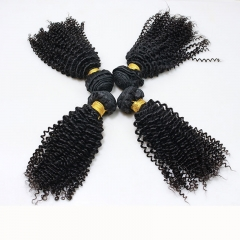 Natural Color Malaysian Remy Hair Kinky Curly Hair Weave 3 Bundles
