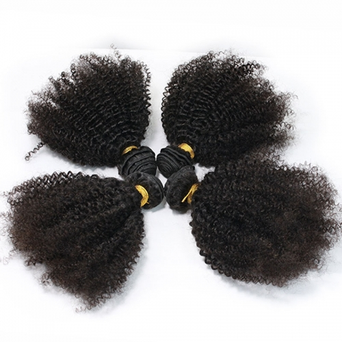 Malaysian Afro Kinky Curly Human Hair Bundles Weft 4pcs for Black Women