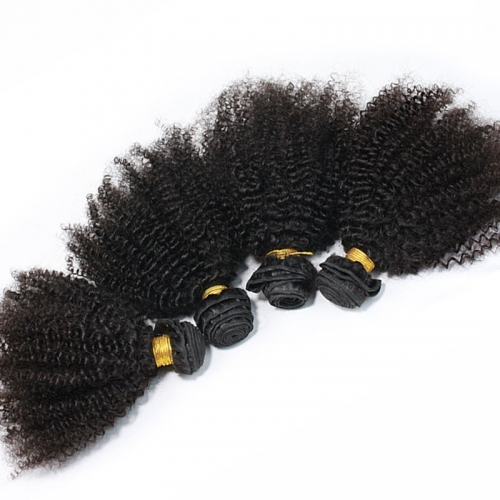Afro Kinky Curly Indian Remy extension de cheveux humains 4 Bundles couleur naturelle