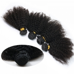 Peruvian Afro Kinky Curly Human Hair 4 Pieces Hair Weave Bundles Natural Color Free Ship