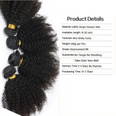 Afro Kinky Curly Indian Remy Human Hair Extension 4 Bundles Natural Color