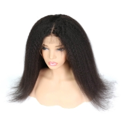 Full Lace Wigs With Silk Base Top Kinky Straight Pre-Plucked Glueless Human Hair For Black Women Natural Hair Line In Stock