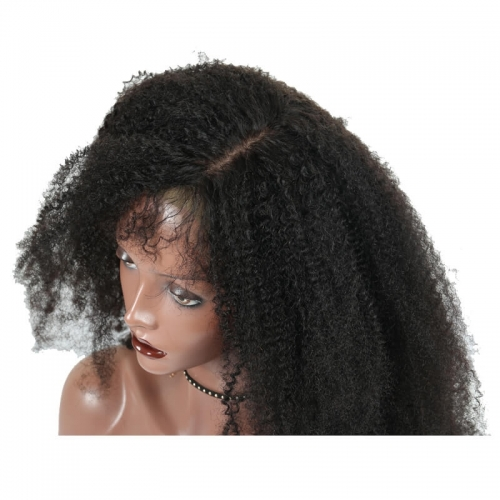 Glueless Silk Top Full Lace Wigs Afro Kinky Curly Peruvian Virgin Human Hair Wig With Baby Hair