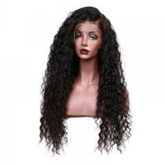 Long Brazilian Curly Human Hair Full Lace Wig with Baby Hair Pre Plucked Natural Black Color 32 Inch